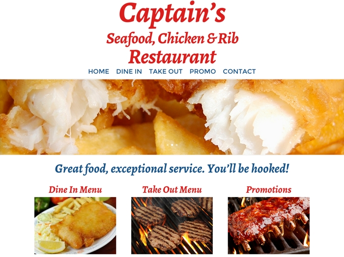 Captain's Seafood, Chicken & Rib Restaurant Home Page