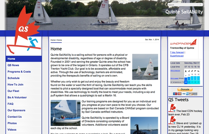 Quinte SailAbility Home Page